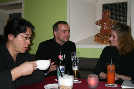 Elfriede Jelinek with Bei Ling and translator Martin Winter in Munich