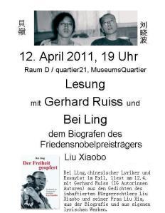 Lesung am 12. 4. 2011 im Museumsquartier in Wien