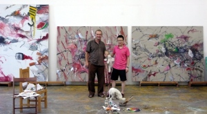 Yang Jinsong with friends at his studio in Beijing