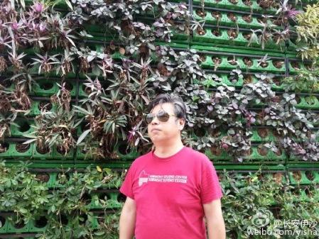 Yi Sha sunglasses Vermont shirt